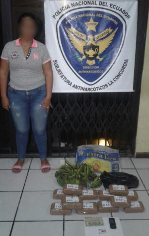 Mujer cargaba marihuana
