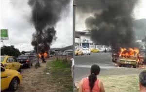 Un carro se incendia en el puente Papagayo y genera alarma