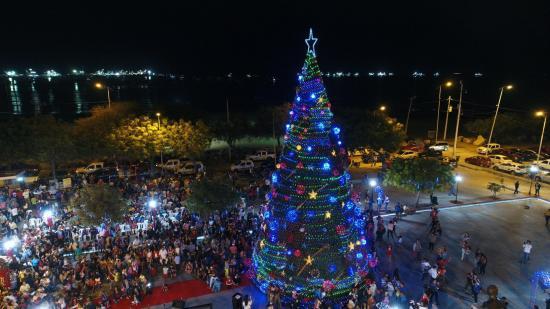 Se encendió el árbol de Navidad en Manta