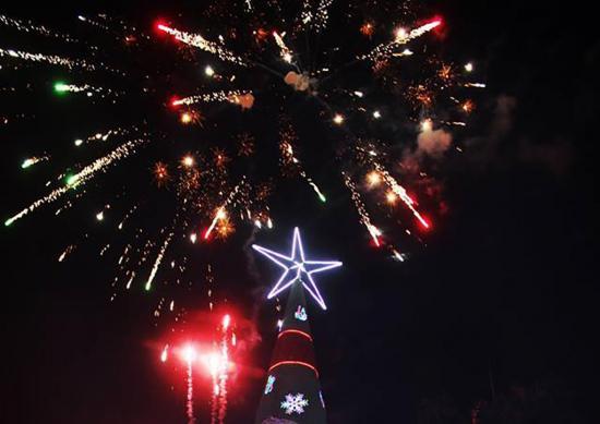 Con árbol navideño apelan a la solidaridad y unión ciudadana