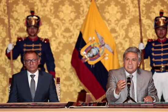 Lenín Moreno valorará candidatos para reemplazar a vicepresidente, dice Vicuña