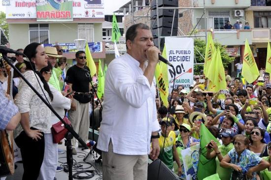 Correa se sube nuevamente a la tarima y promueve el No en consulta popular