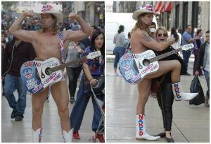 El Vaquero Desnudo de Times Square causa furor en calles de Ciudad de México