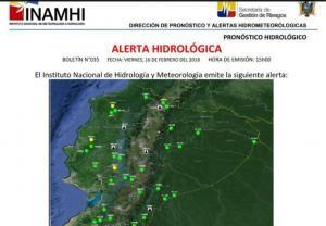 Inamhi emite alerta de inundación sobre el río Chone