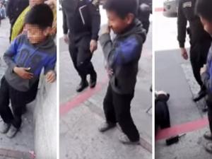 Policías tienen un amable gesto con un niño