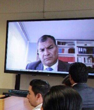 Correa declara por videoconferencia ante fiscal por secuestro de Fernando Balda