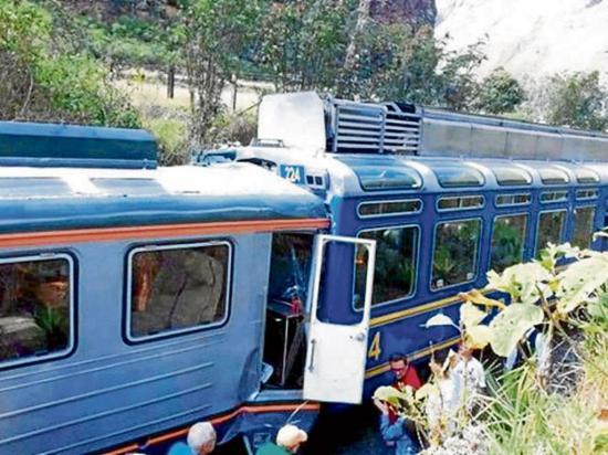 Un choque entre trenes deja al menos dos  heridos en Machu Picchu