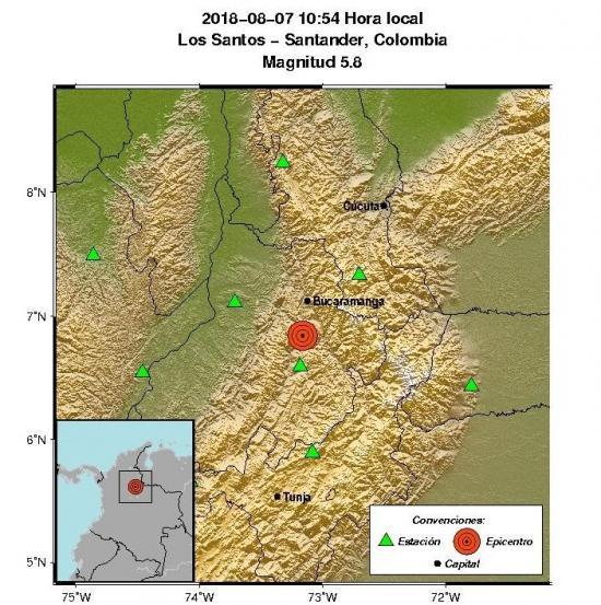 Un temblor de 5,8 sacudió esta mañana al norte de Colombia