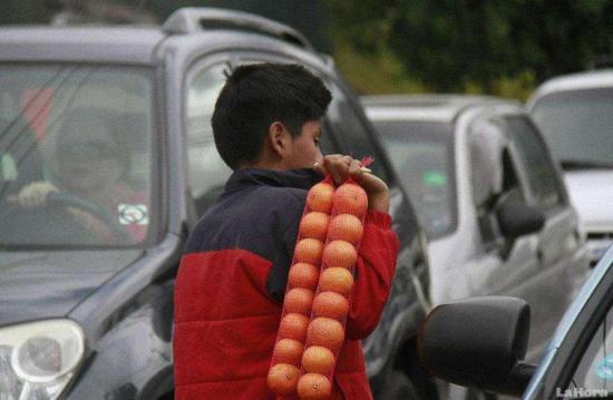 El verano en Ecuador convierte a muchos niños en comerciantes bajo la luz roja