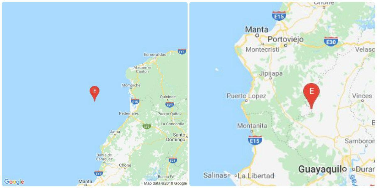 Dos sismos se registraron esta mañana, uno en Manabí y otro en Guayas