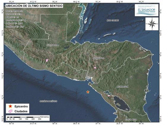 Un sismo de magnitud 4,4 sacude costa del Pacifico de Nicaragua sin daños