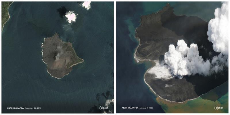 Imágenes evidencian el derrumbe del volcán que provocó un tsunami en Indonesia