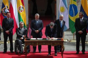 Presidentes de Suramérica firman declaración de Santiago para crear el Prosur