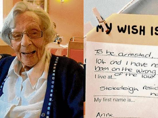 Último deseo de una  abuela era ser arrestada por la policía