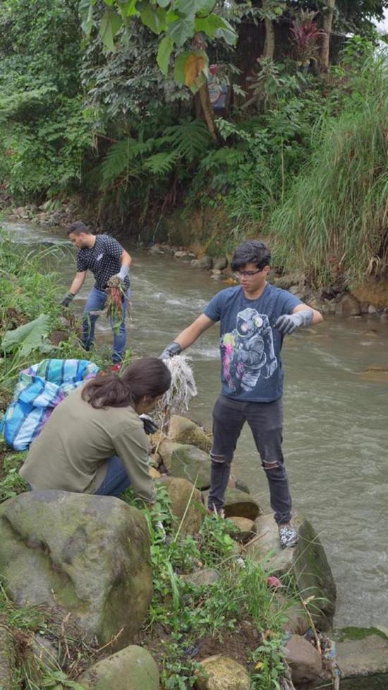 Voluntarios limpian ribera del río Pove