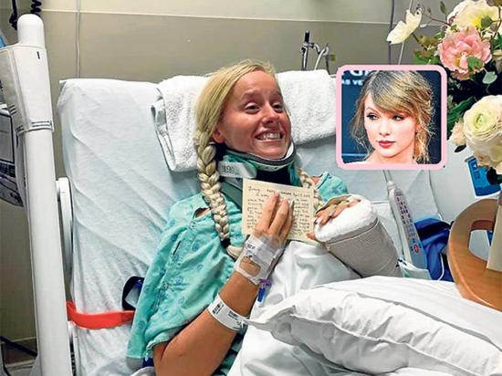Taylor Swift sorprende a una fanática que  sufrió un accidente