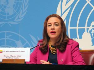 Excanciller María Fernanda Espinosa no hablará de ''juicio político'' mientras esté en ONU