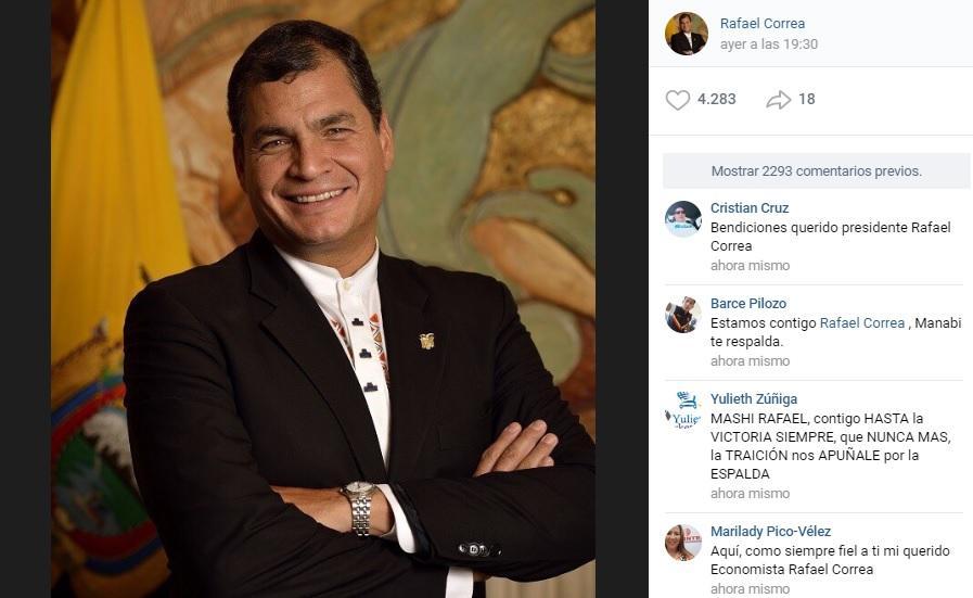 Tras suspensión de páginas en Facebook, Correa crea cuenta en red social rusa