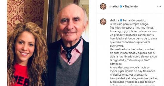 Shakira destaca la ''humildad'' y 'dignidad' de su ''amigo'' Fernando de la Rúa