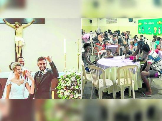 Festejaron su matrimonio con cena para los necesitados