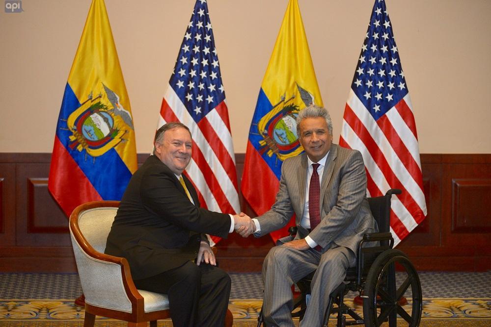 El presidente Lenín Moreno recibe al secretario de Estado de EEUU en Guayaquil