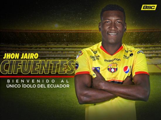 Jhon Jairo Cifuentes es el nuevo refuerzo de Barcelona S.C.