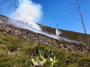 Bomberos de siete provincias unen esfuerzos para apagar incendio en Quito