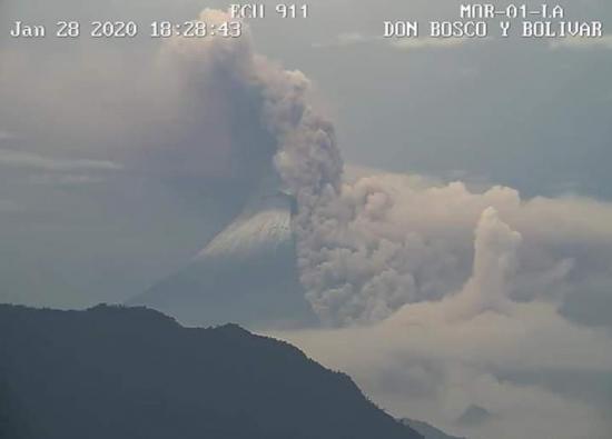 Instituto Geofísico de Ecuador registra flujos piroclásticos en volcán Sangay