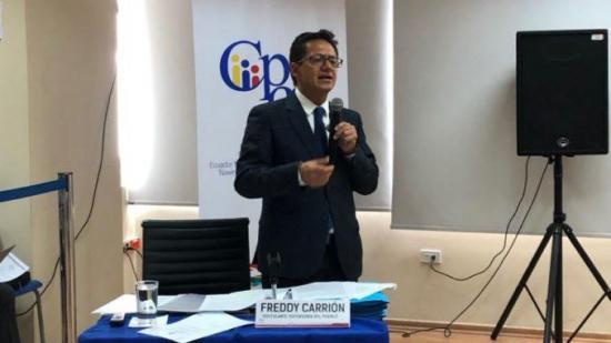 El defensor del pueblo Freddy Carrión  pide 'respeto' y 'protección' al Estado ecuatoriano