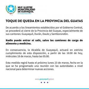 EN GUAYAS SE AMPLIA EL HORARIO DEL TOQUE DE QUEDA