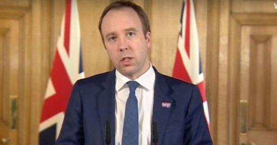 Secretario de Salud británico dio positivo por coronavirus