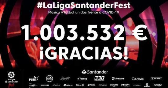 LaLigaSantander Fest recauda un millón y donará 1,4 millones de mascarillas para luchar contra el coronavirus