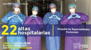 22 pacientes con covid-19 han recibido el alta en el Hospital Especialidades de Portoviejo