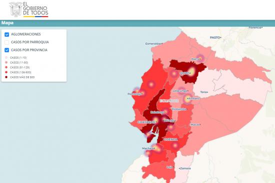 Ecuador dispone de una plataforma web para conocer dónde están los casos de Covid-19