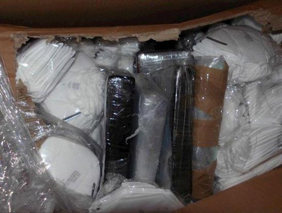 Halla droga valorada en más de 1 millón de dólares en un cargamento de mascarillas
