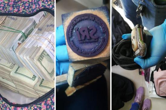 Hallan mochilas llenas de dinero, armas y sellos de instituciones públicas durante allanamientos en Manabí