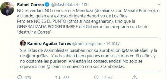 Rafael Correa niega haber conocido al legislador manabita Daniel Mendoza