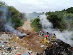 Manta: Bomberos controlan incendio forestal en San Juan