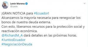 Ecuador alcanza la mayoría necesaria de votos para renegociar bonos de la deuda externa