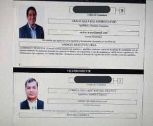 UNES inscribió por internet a binomio presidencial Andrés Arauz-Rafael Correa