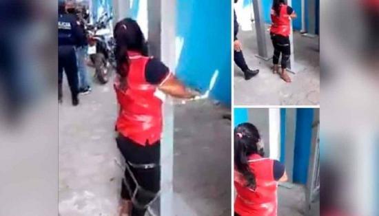 Detienen a agentes por humillar a discapacitada atada a un poste en Durán