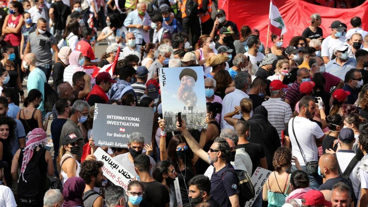 Concentración para conmemorar el primer aniversario de protestas en El Líbano