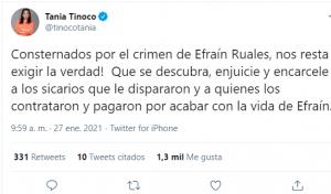 Políticos y personajes de la tv se pronuncian tras la muerte de Efraín Ruales