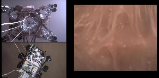 La NASA divulga el primer video y sonido del aterrizaje de Perseverance en Marte