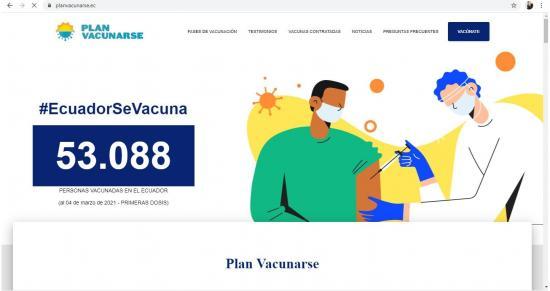 Ecuador abre página web sobre la vacunación anticovid tras diversas críticas